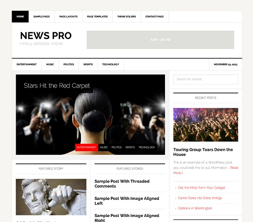 News Pro is another Best WordPress Themes for Adsense