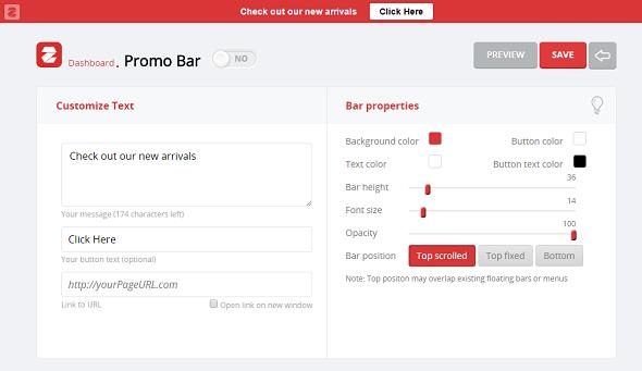 Promo Bar setting