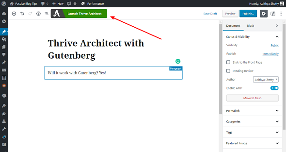 Thrive Architect works with Gutenberg